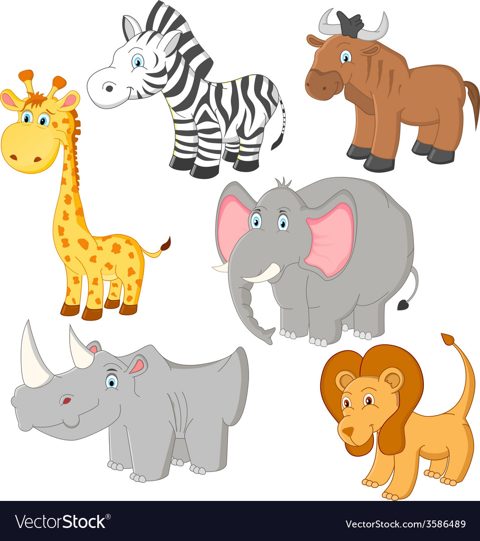 Cartoon african animals Royalty Free Vector Image