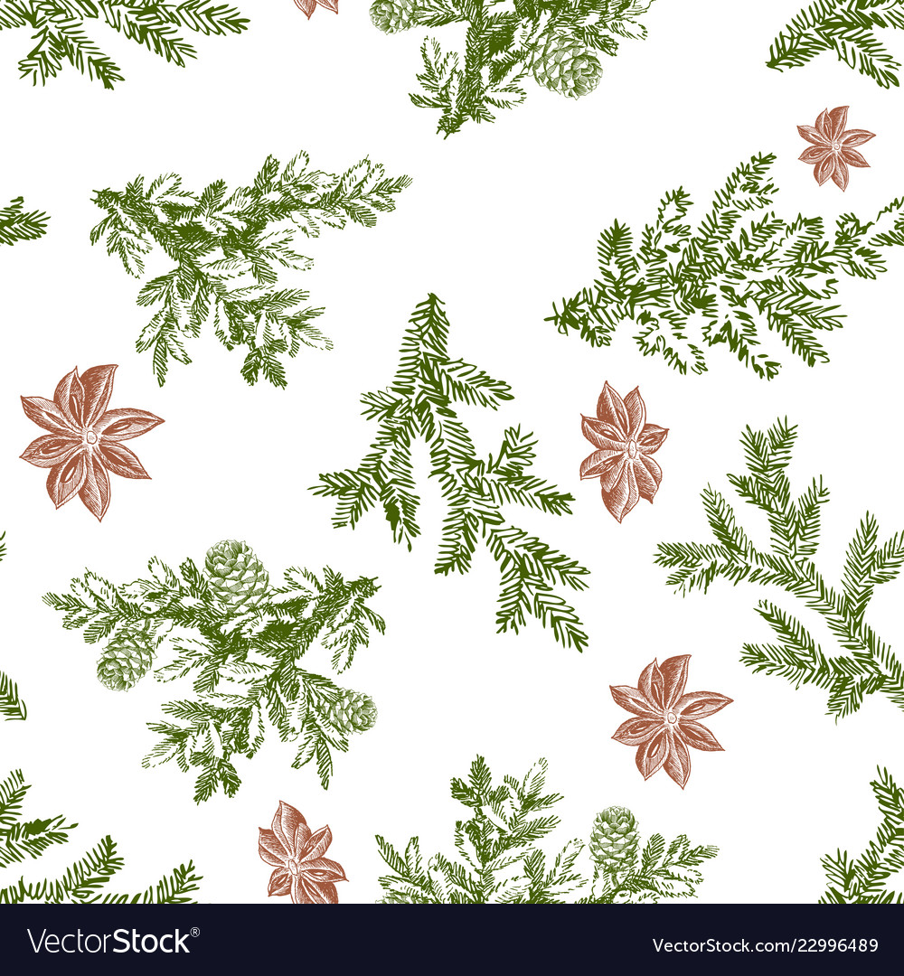Christmas seamless pattern in engraving style