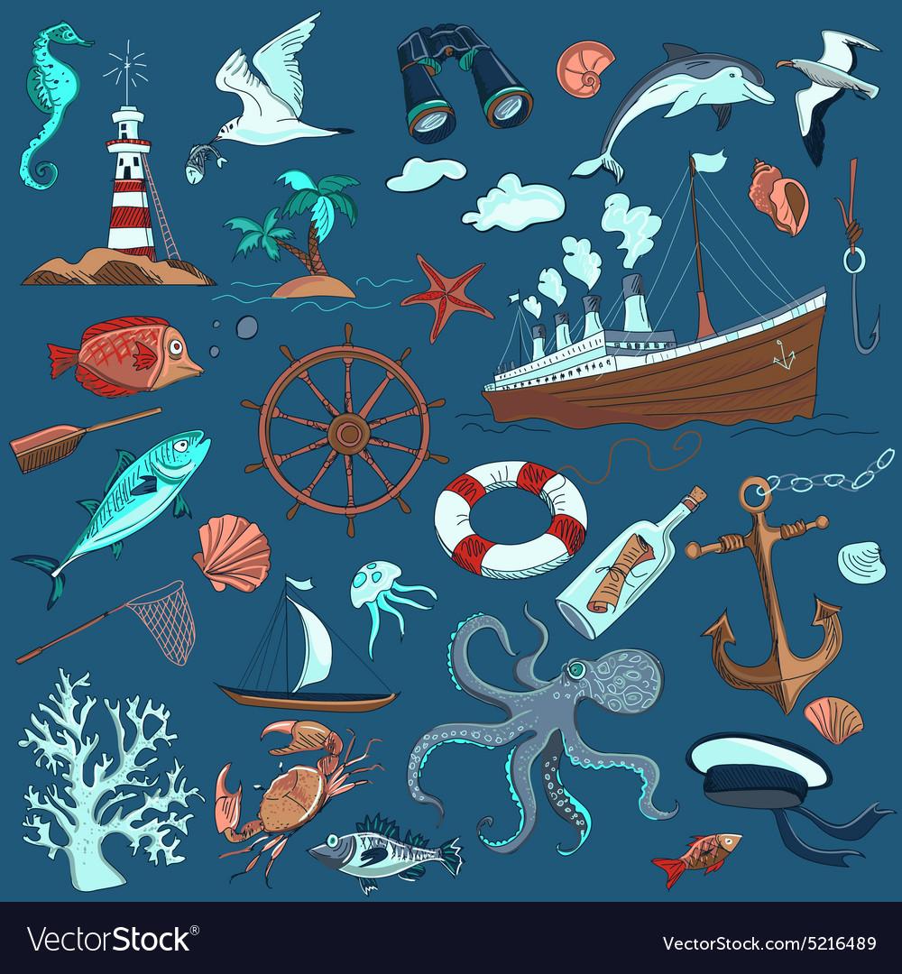 Colored hand-drawn elements marine theme