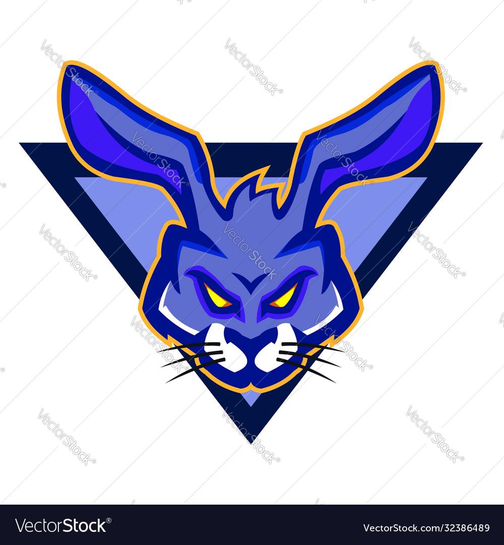 Dark bluish rabbit mascot logo