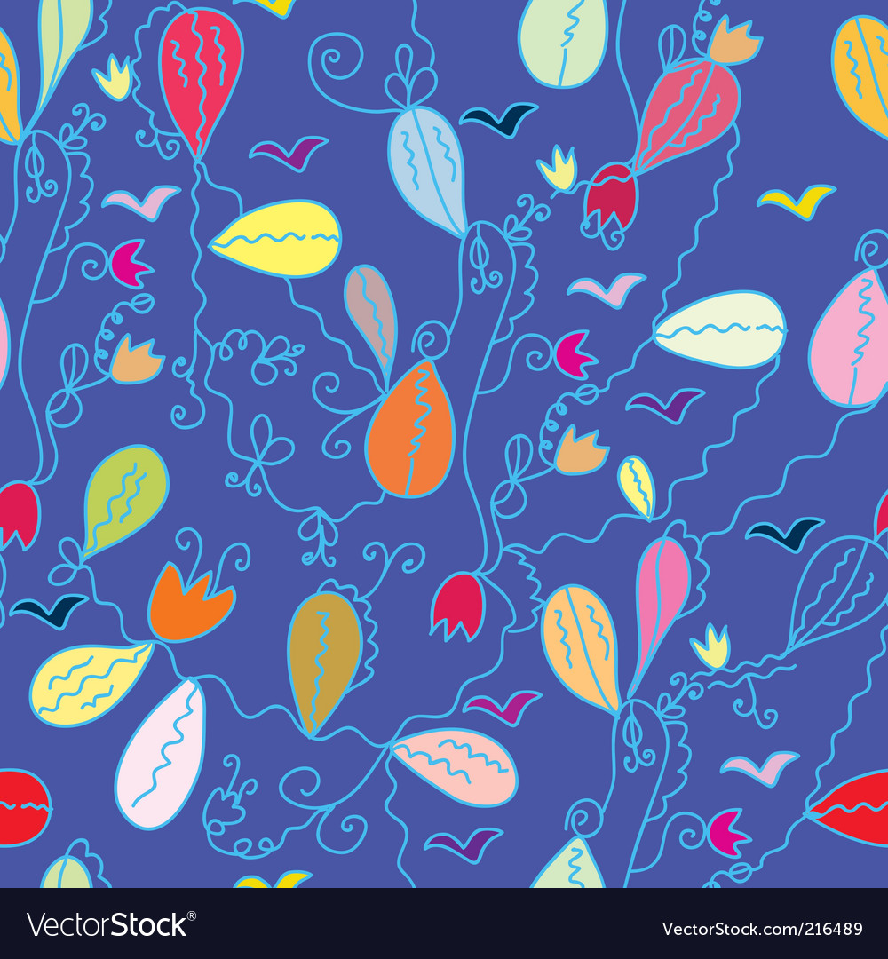Floral cartoon seamless pattern