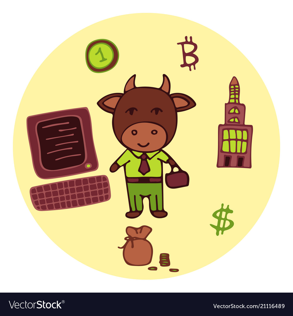 Hand-drawn business bull the broker in a suit vector image