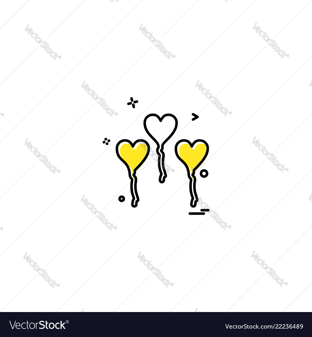 Hearts balloons icons design