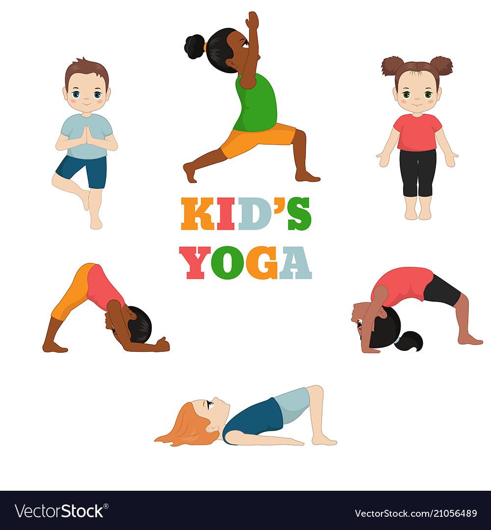 Kids Doing Yoga Kids Doing Yoga Royalty Free Vector Image
