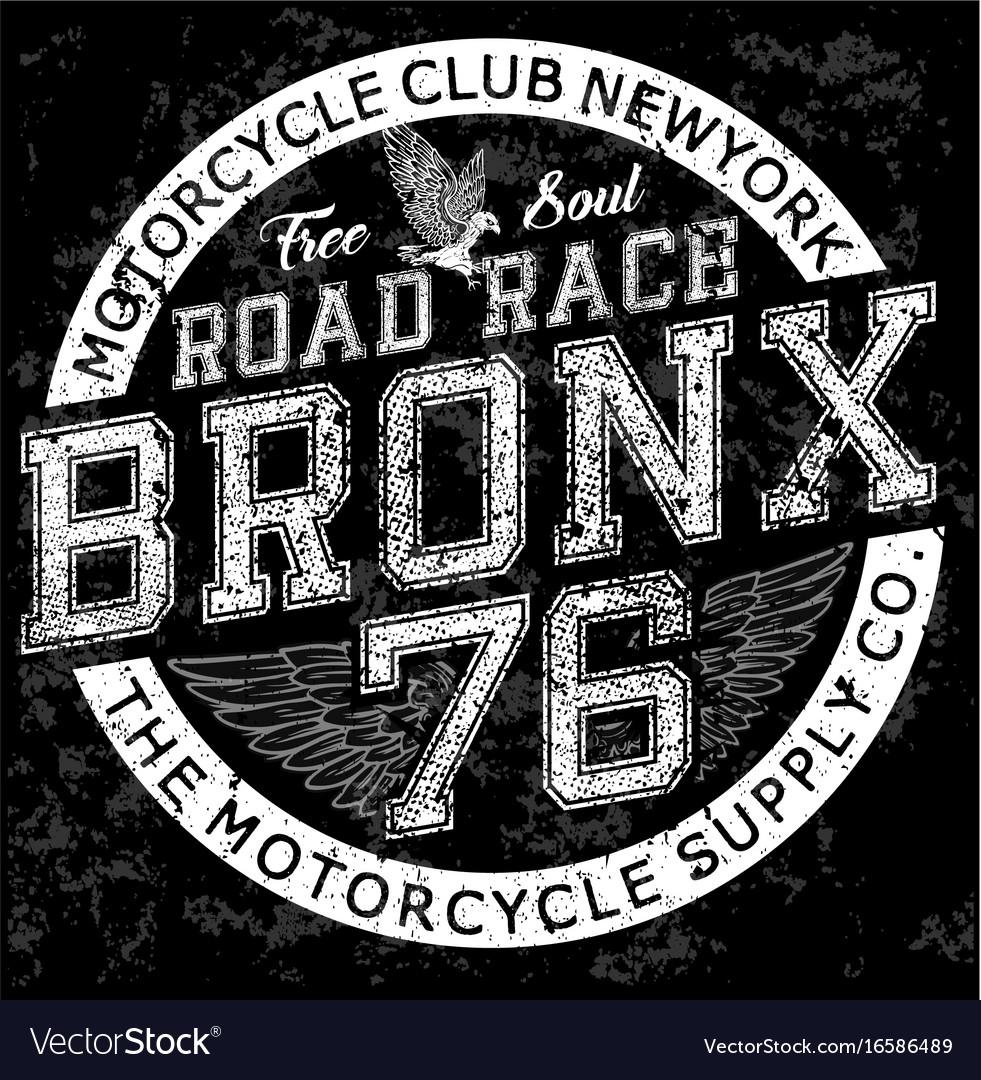 Man Vintage T Shirt Graphic Design Bronx Vector Image