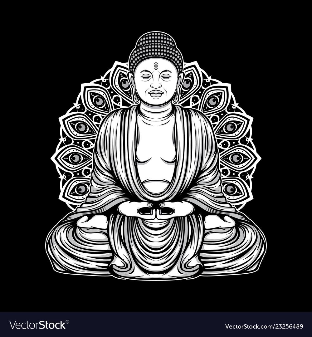 Outline buddha amitabha