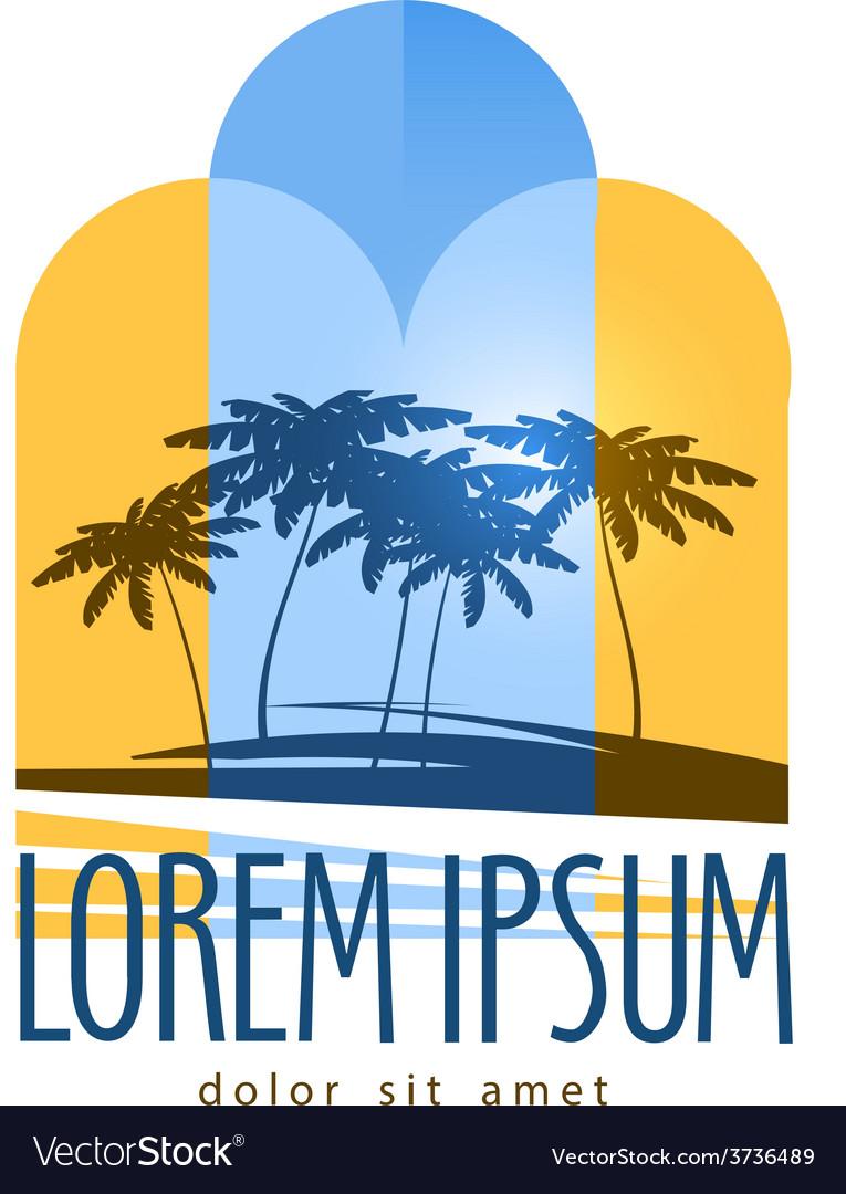 Palm trees logo design template Island or
