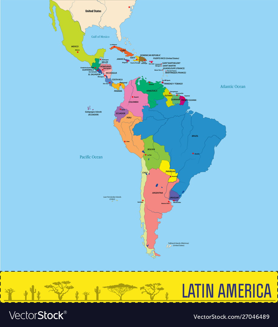 Political map latin america