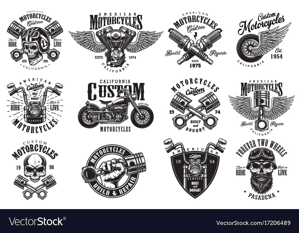 Set of custom motorcycle emblems vector image