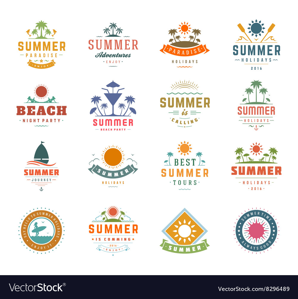 Summer Holidays Design Elements and Typography Set