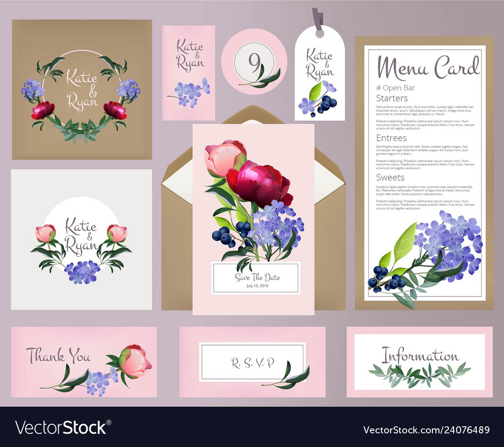 Wedding cards invitation template with beautiful