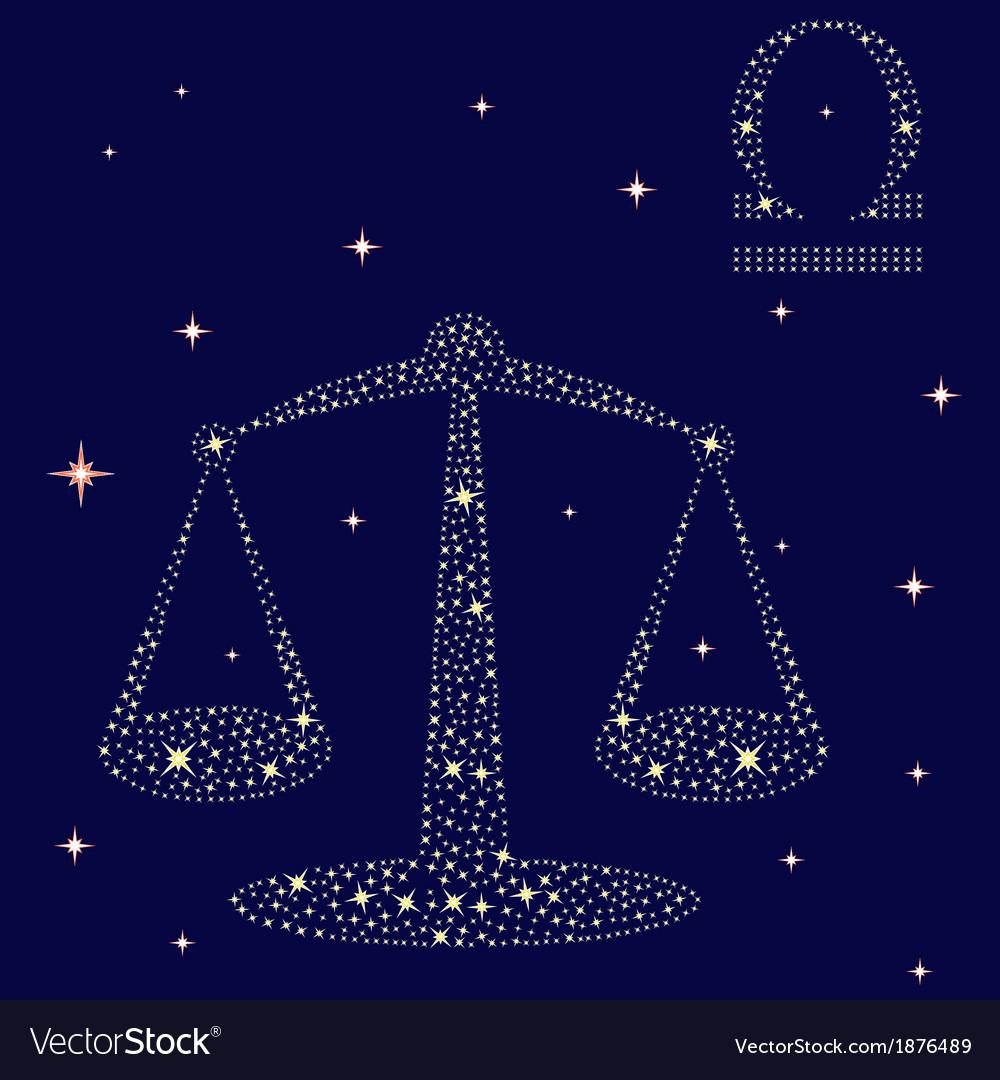 Zodiac sign Libra on the starry sky