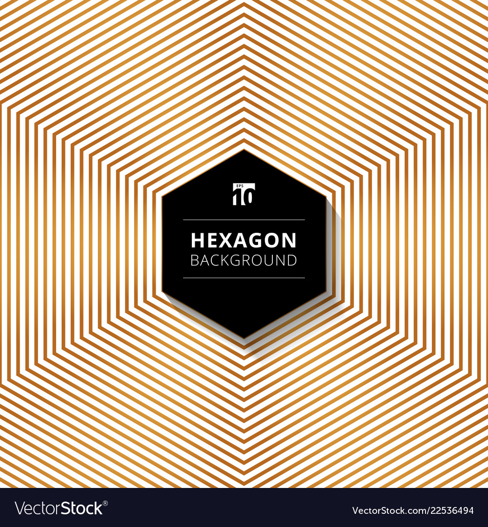 Abstract gold color hexagons lines pattern