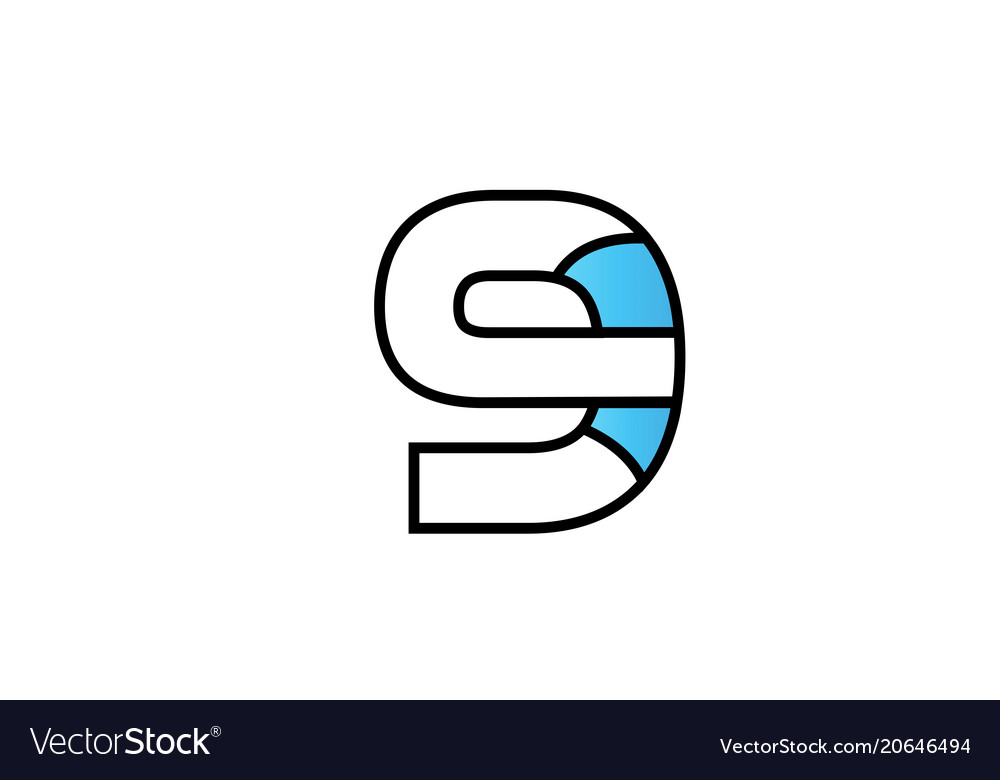 Black blue number 9 logo company icon design