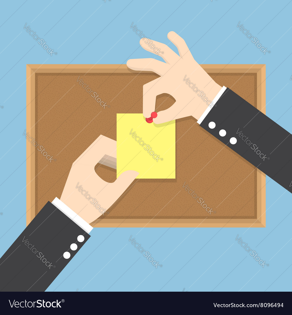 Businessman hands pin sticky notes on cork bulleti vector image