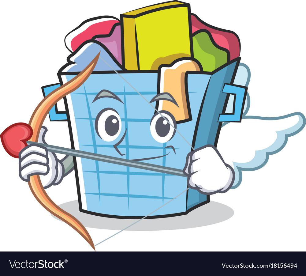 Cupid laundry basket character cartoon
