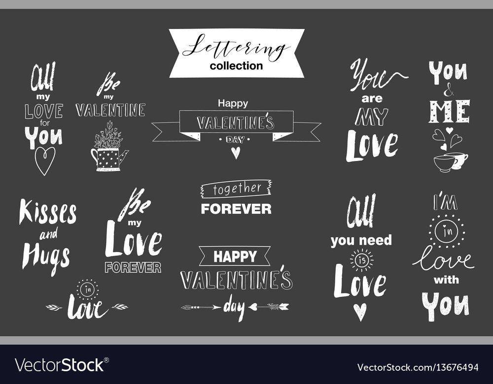 Doodle set of lettering about love