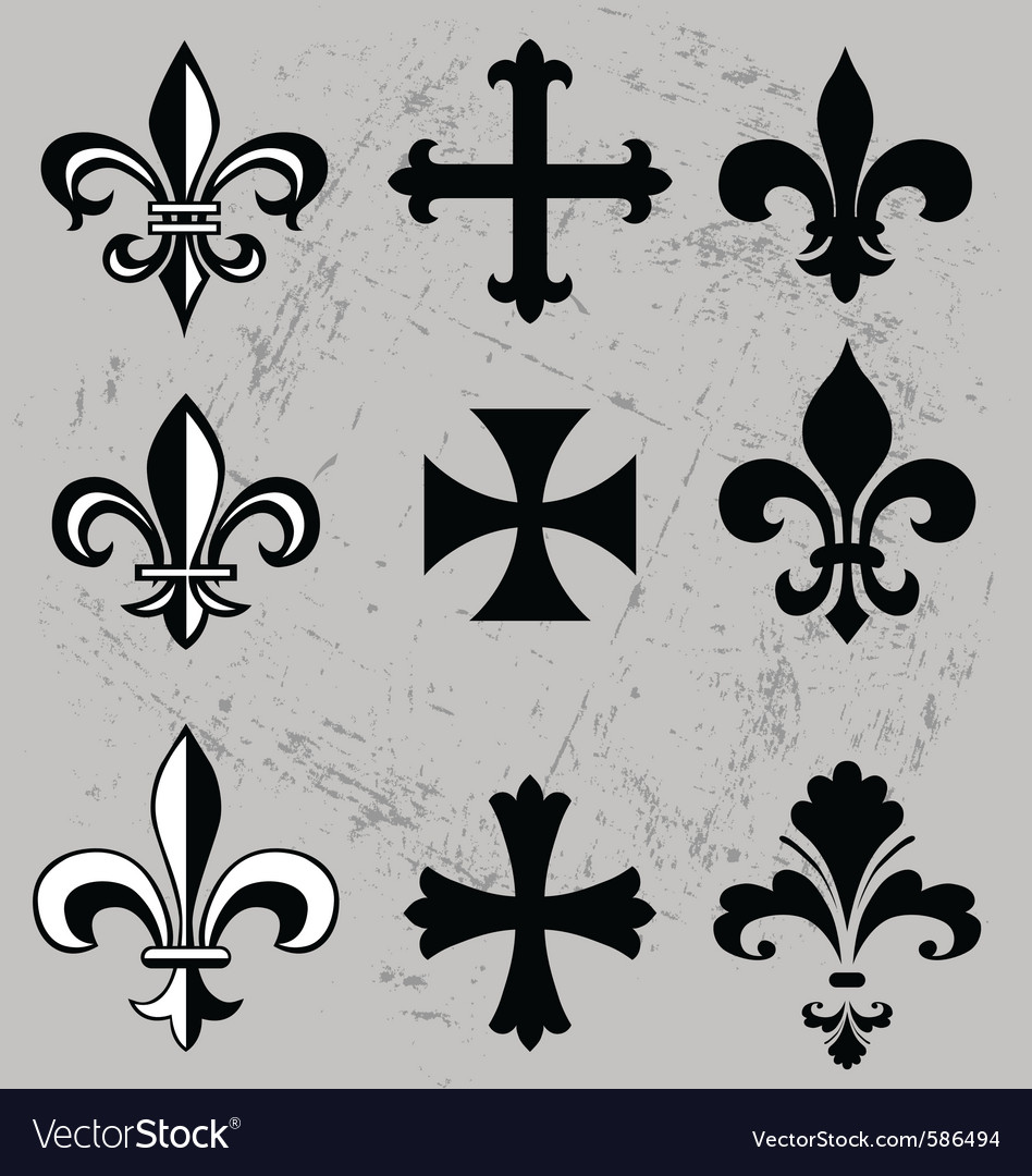 Fleur de lis and crosses