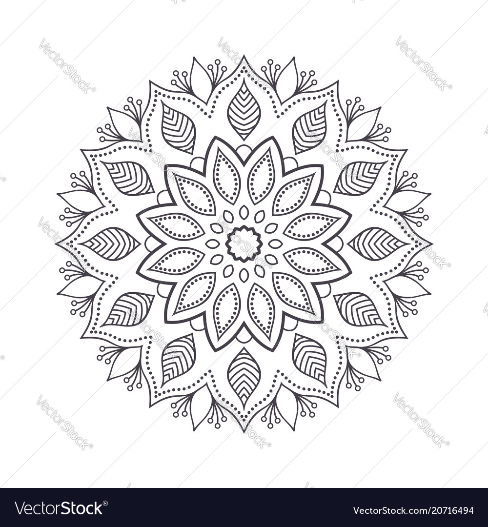 Hand drawn flower mandala for coloring book