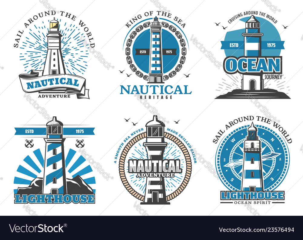 Lighthouse and beacon navigation icons
