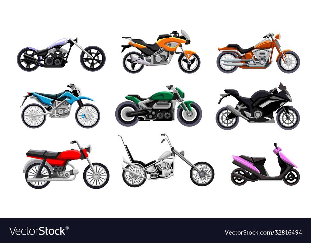 Motorbike icon set isolated motorcycle scooter