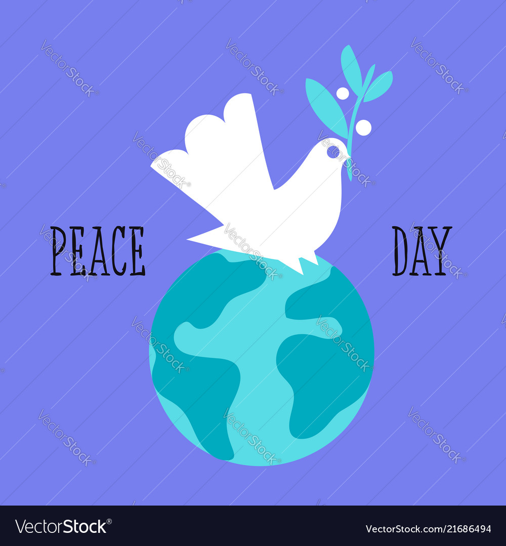 Peace Day Greeting Card With White Dove With Vector Image