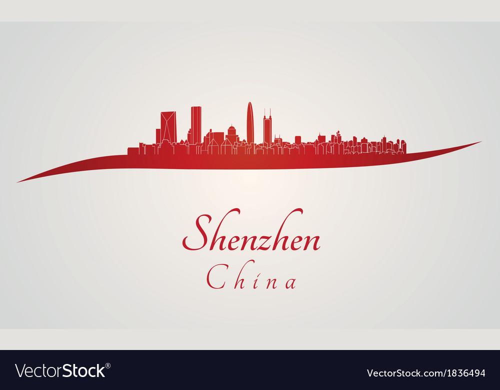 Shenzhen skyline in red vector image