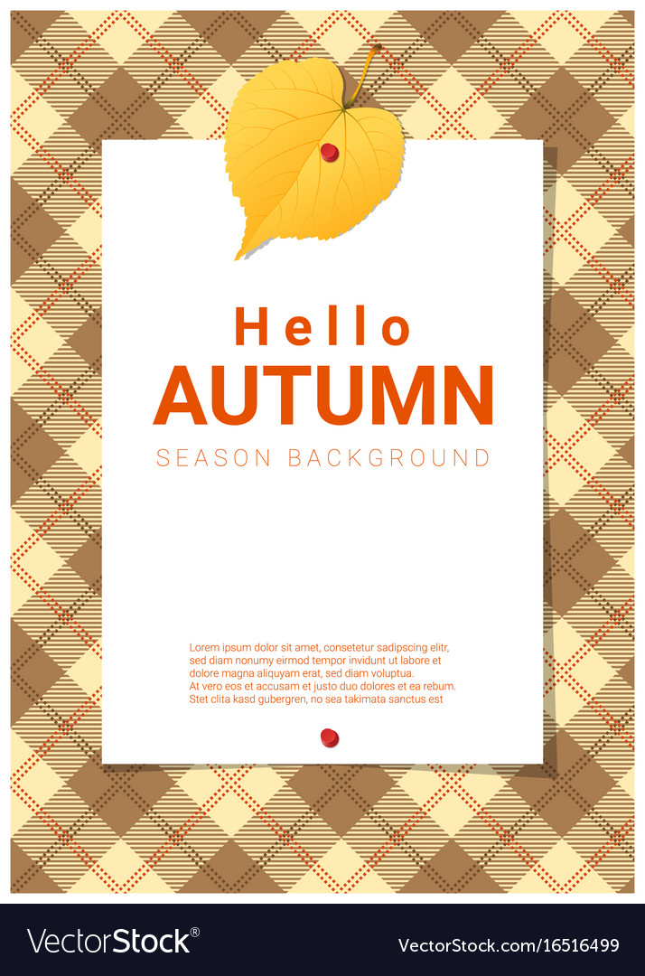 Blank poster on autumn theme background vector image