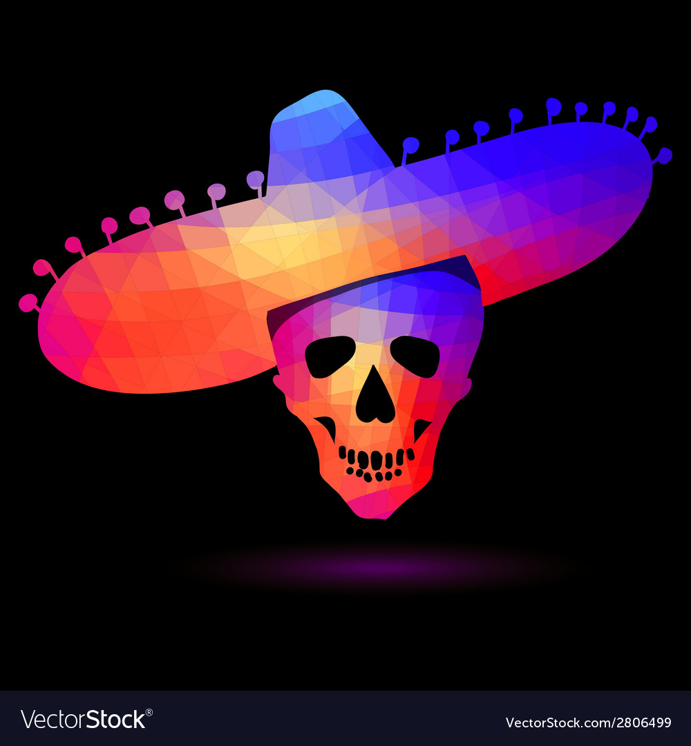 Colorful geometric skull in sombrero vector image