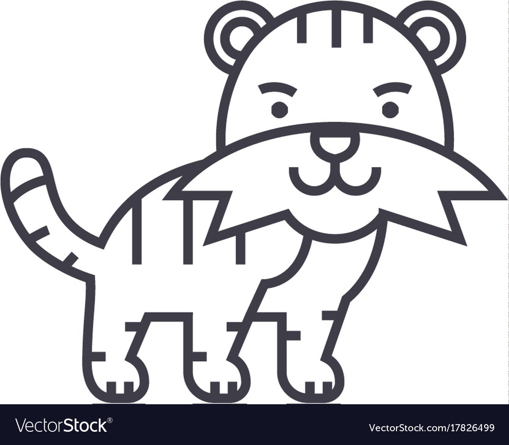 Cute tiger line icon sign on