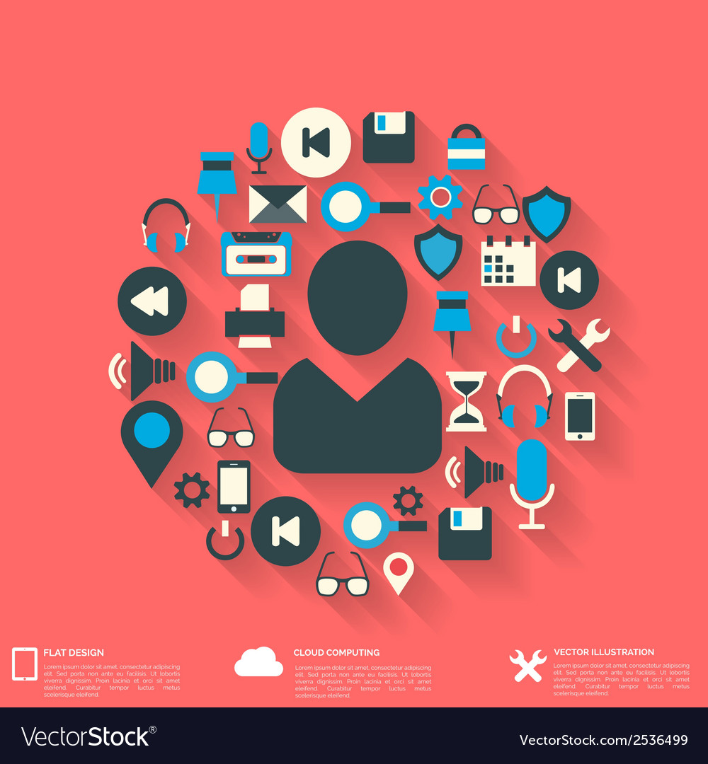 Flat abstract background with web icons Interface