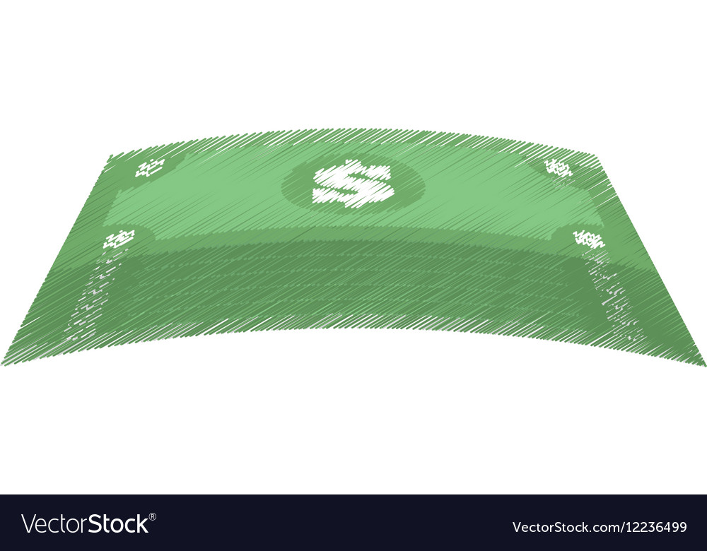 Hand draw stacked bill money dollar color vector image