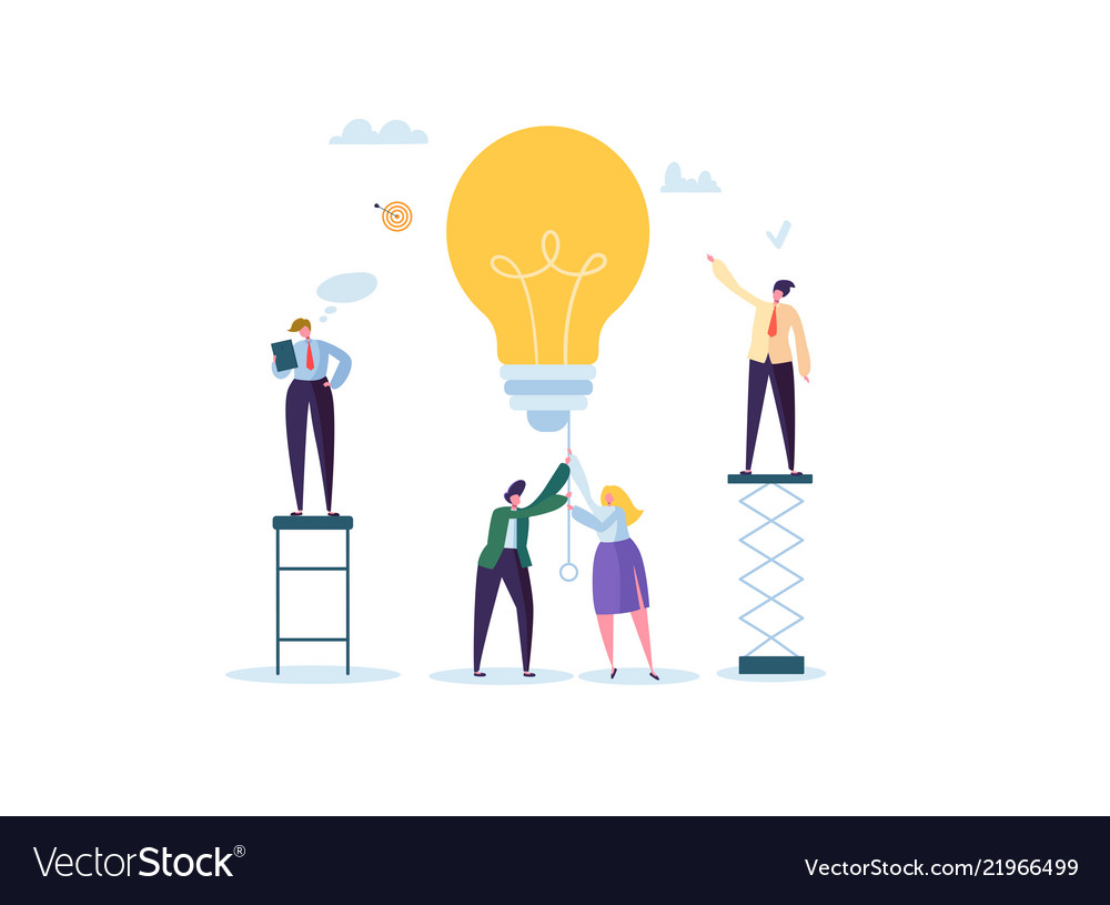 Idea with light bulb and business people character