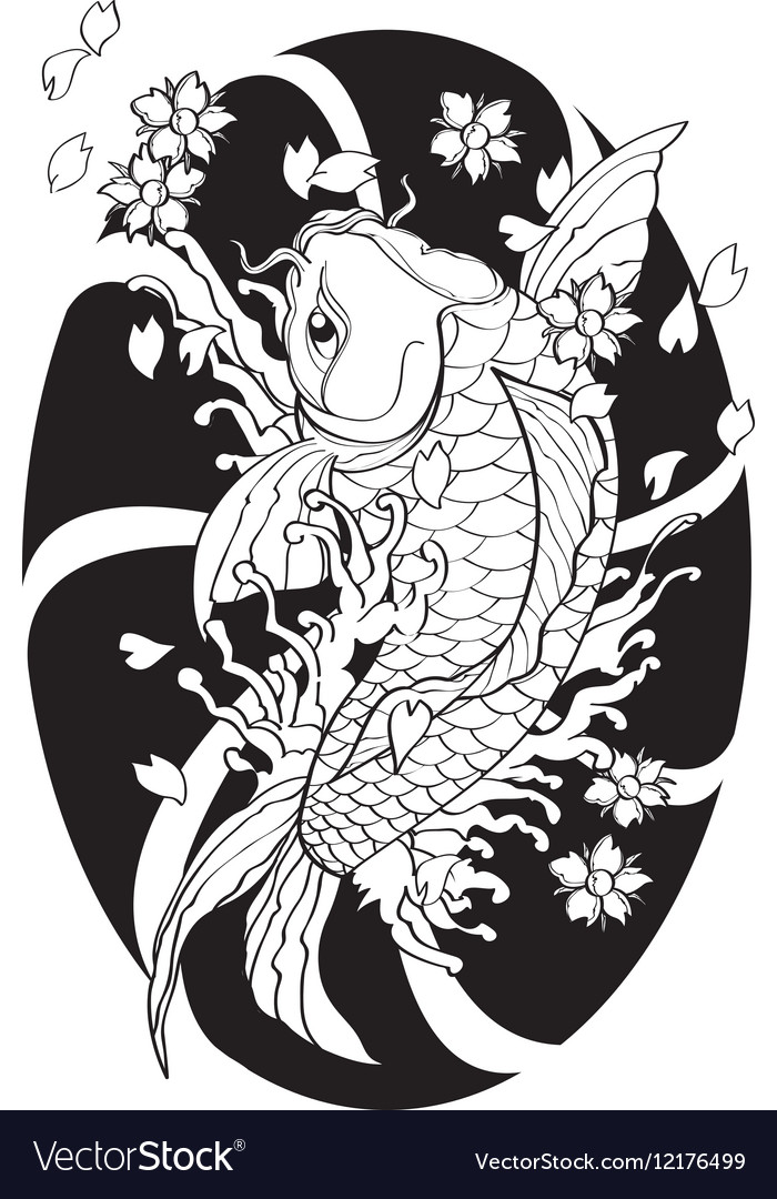 This is an image of Revered Japanese Koi Fish Drawing