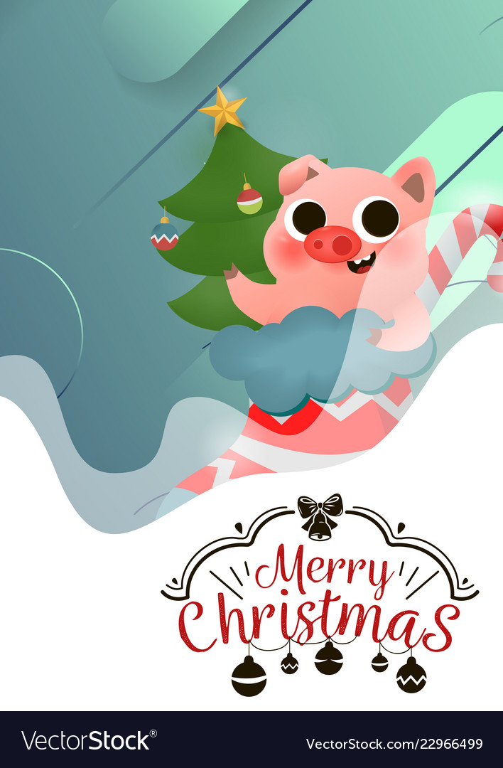 Merry christmas and happy new year pig