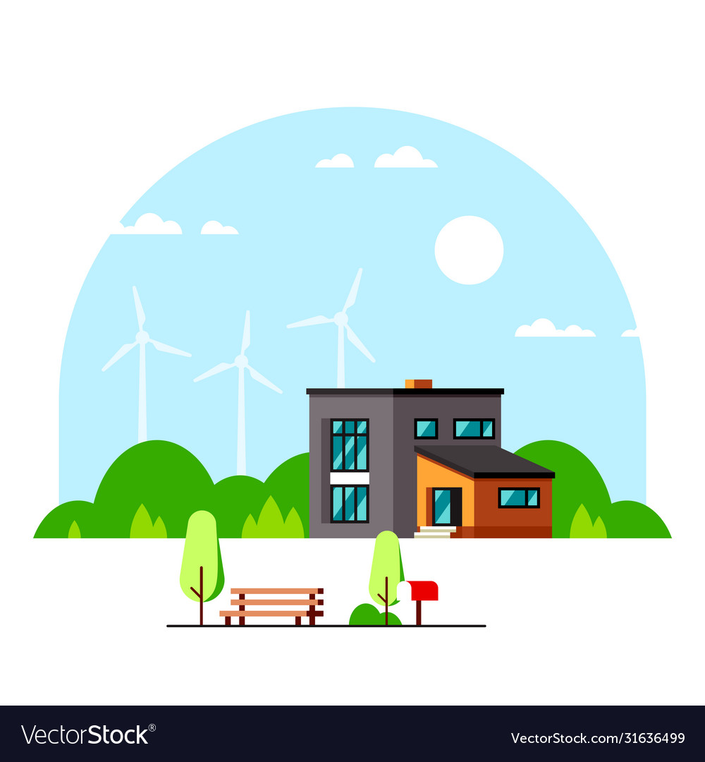 Modern house with wind turbines on background