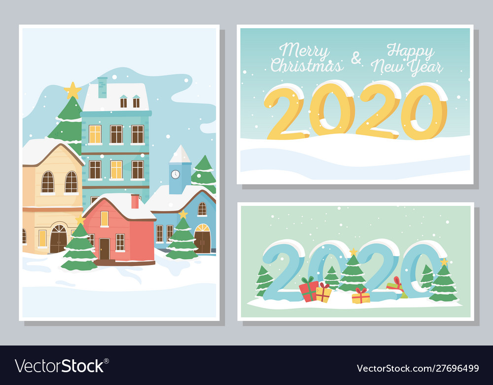 New year 2020 greeting cards village houses snow