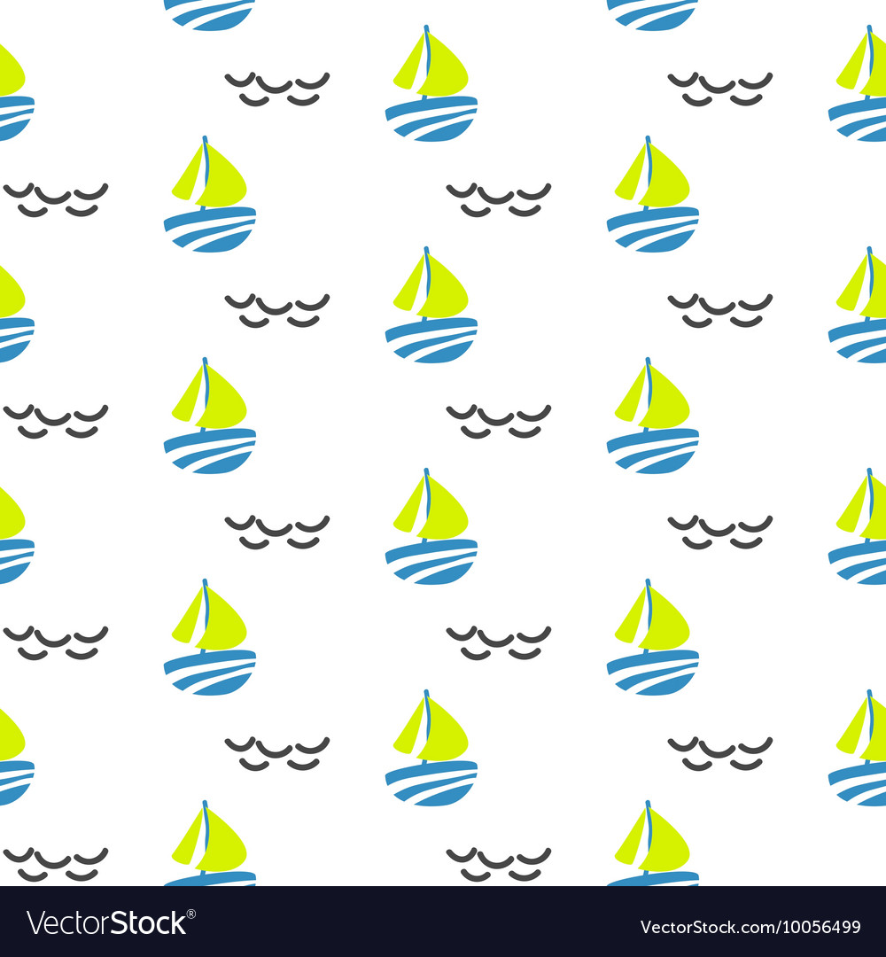 Sailboat seamless kid pattern in