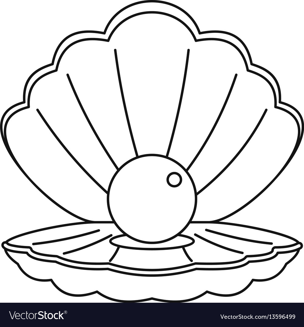sea shell with pearl icon outline style royalty free vector