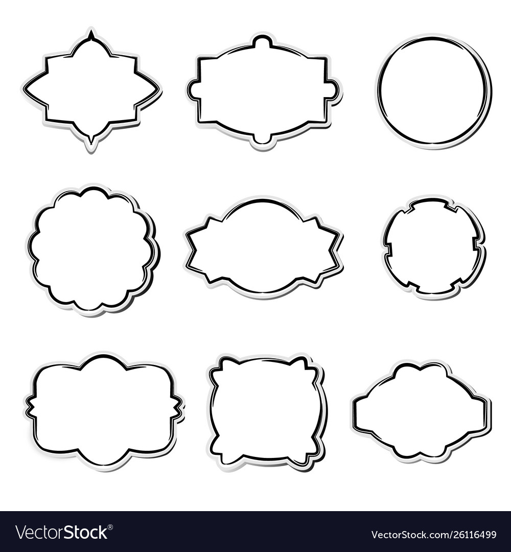 Set white paper frames in different shapes
