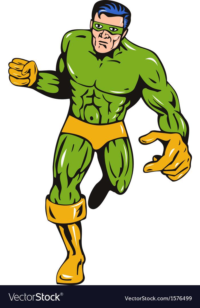 Super Hero Running Punching Retro