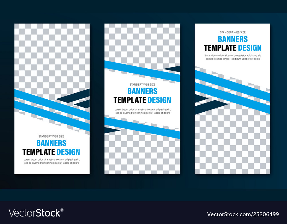 Templates for vertical web banners with blue