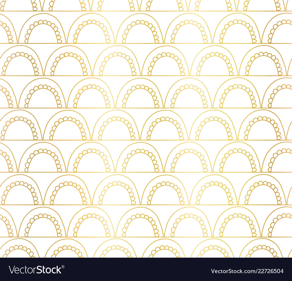 Abstract seamless gold foil arches pattern