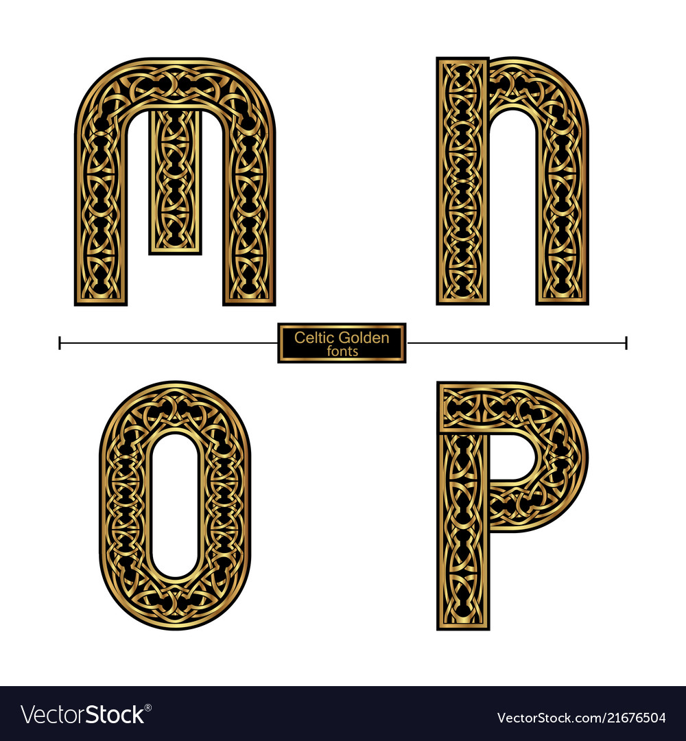 Alphabet celtic golden style in a set mnop