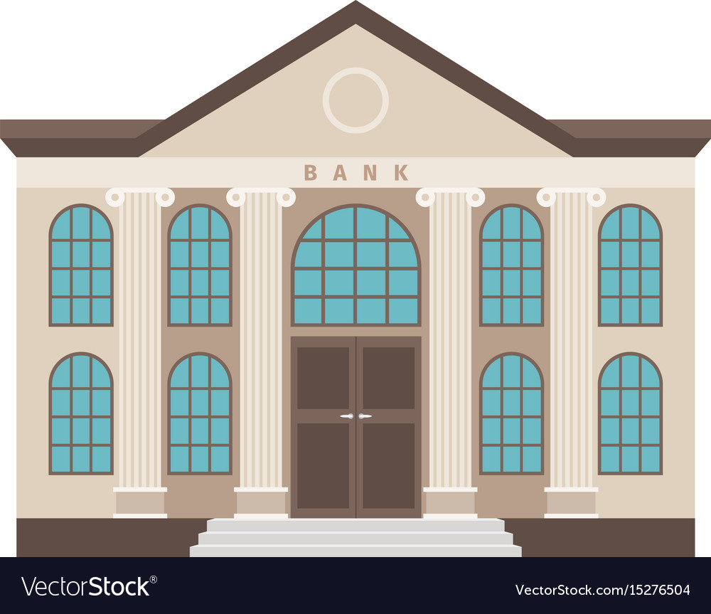 Bank Cartoon Colorful Flat Building Icon Vector Image
