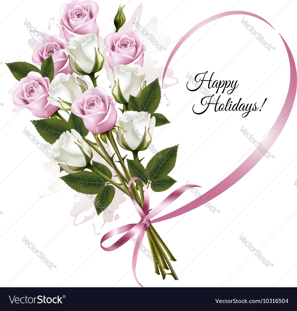Beautiful holiday card with pink and white roses