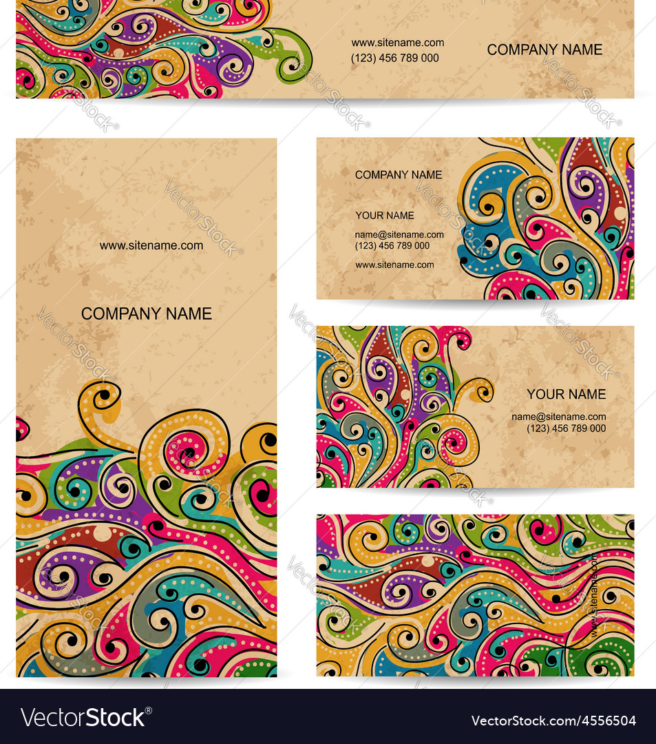 Business cards design with grunge wave pattern