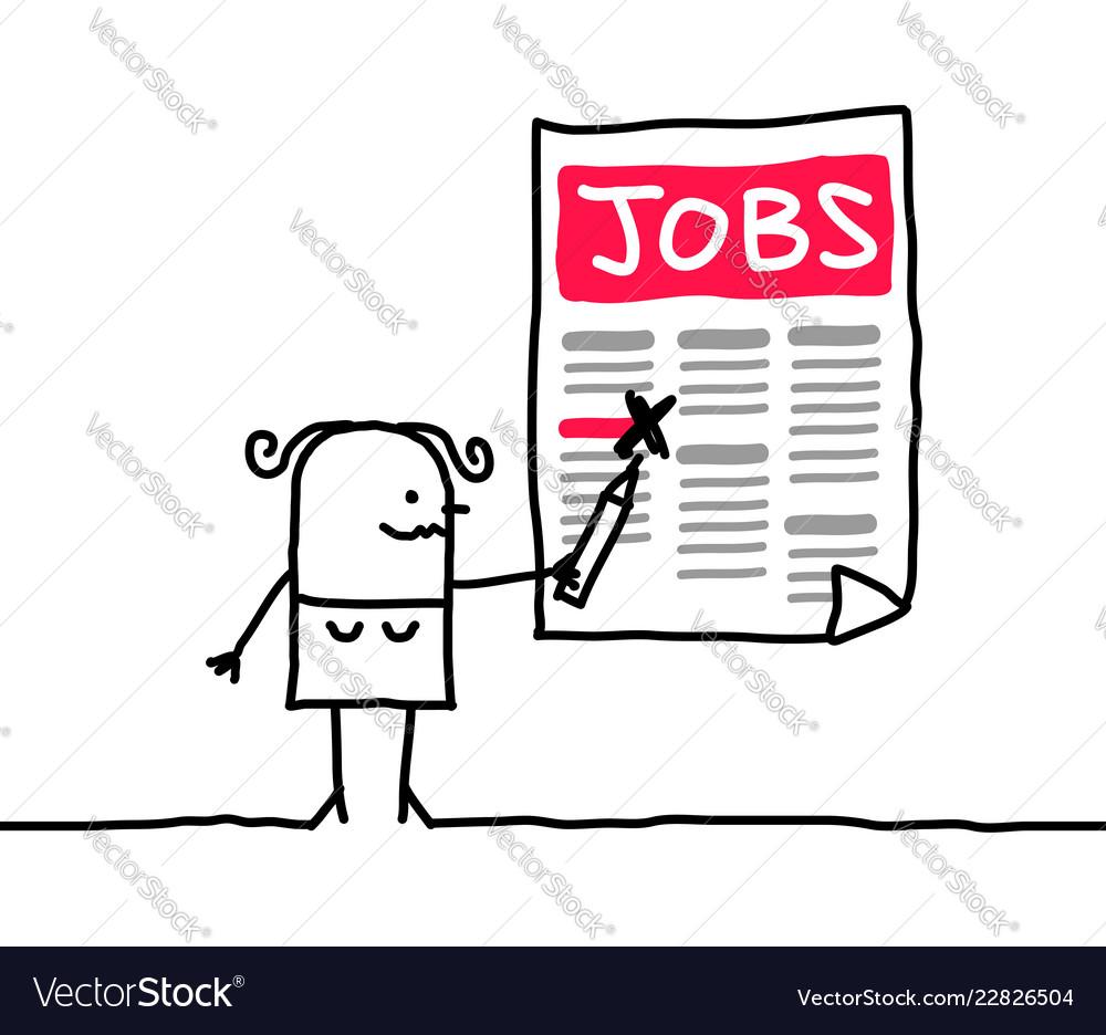 Cartoon Woman Looking For A Job Royalty Free Vector Image