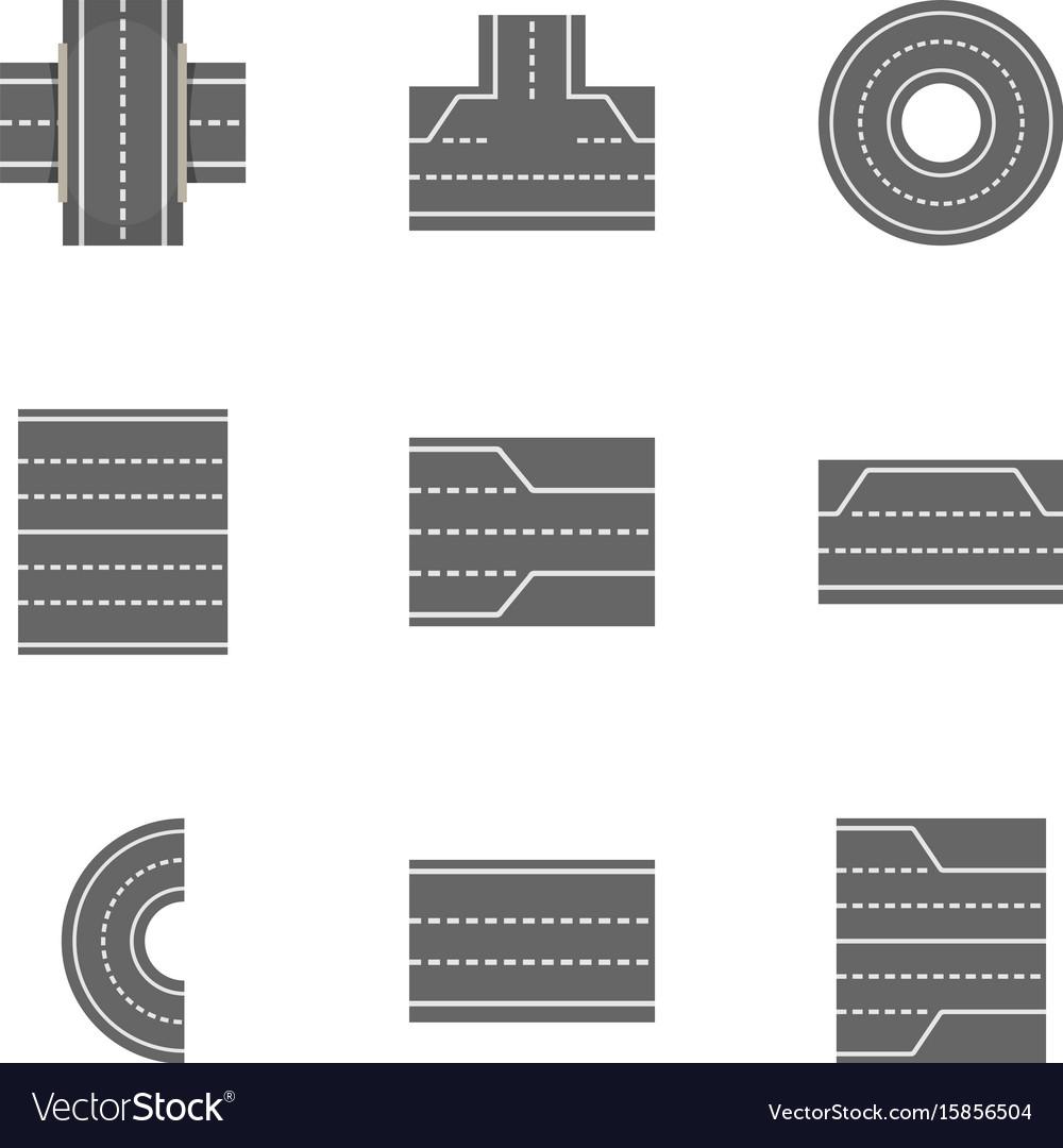 City roads icons set cartoon style vector image