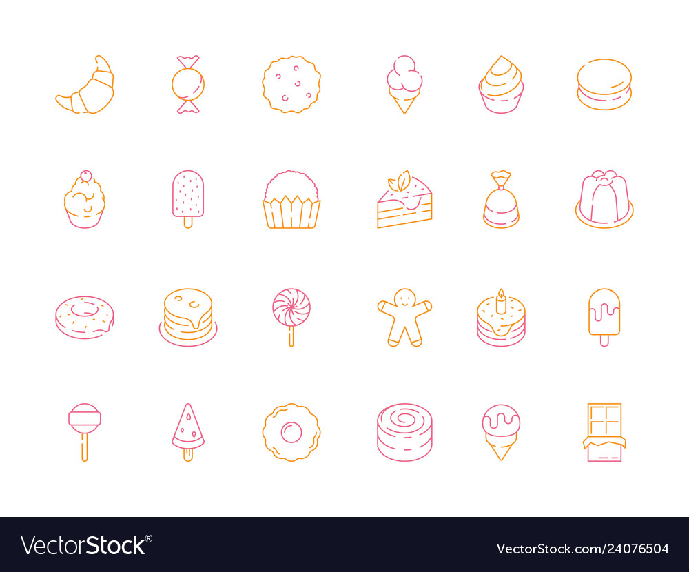 Colored dessert icons birthday sweets cakes candy